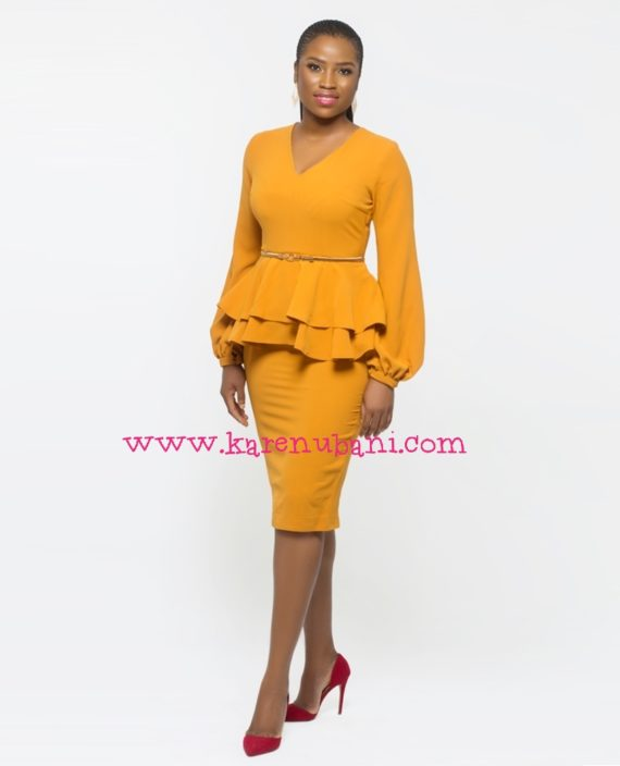 Mustard Dual Peplum Detail Dress 4