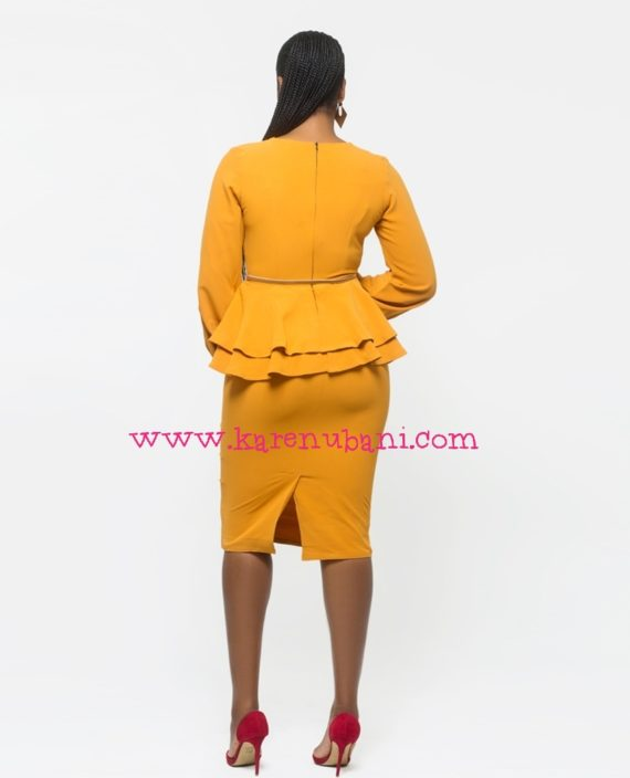 Mustard Dual Peplum Detail Dress 3