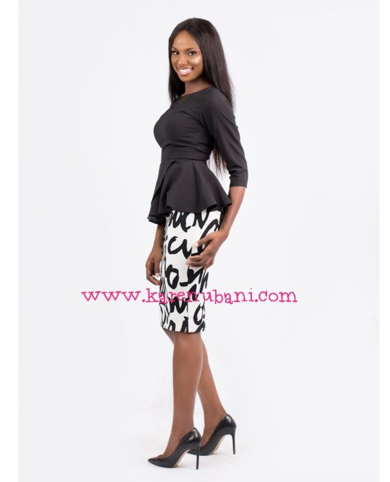 Black Peplum Blouse With Mesh Details 3