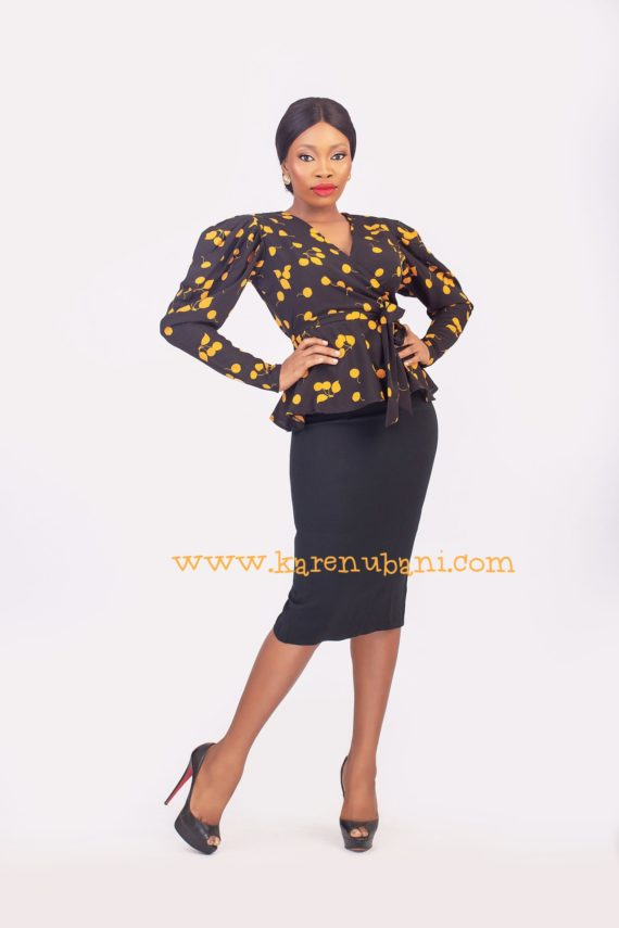 Yellow & Black Print Vintage Blouse 1