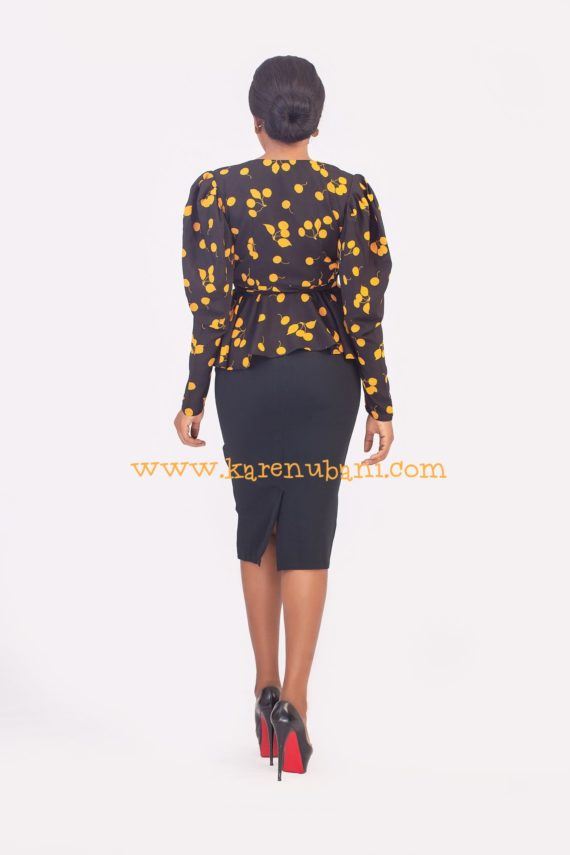 Yellow & Black Print Vintage Blouse 2