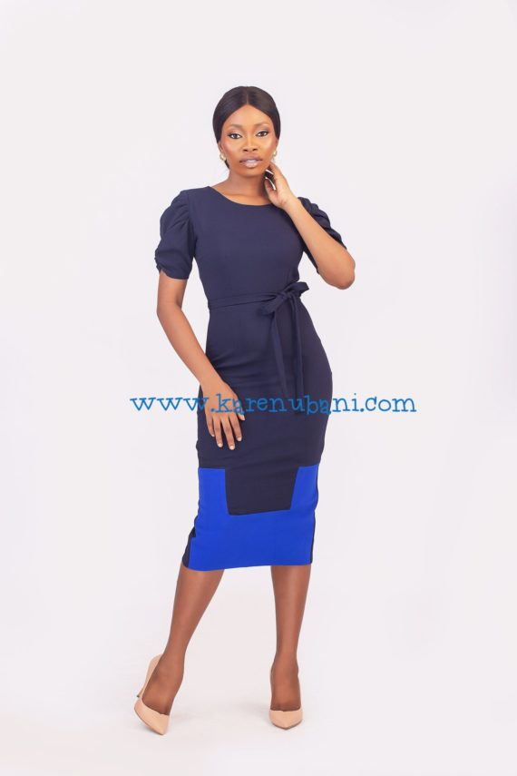The Maxim Dress- Navy & Colbalt 1
