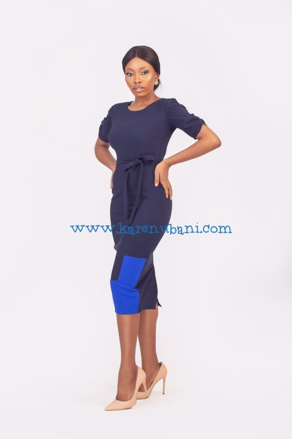 The Maxim Dress- Navy & Colbalt 3