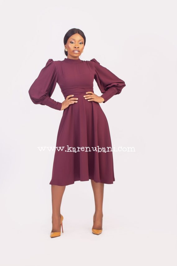 Meghan Flare Dress in Burgundy 1
