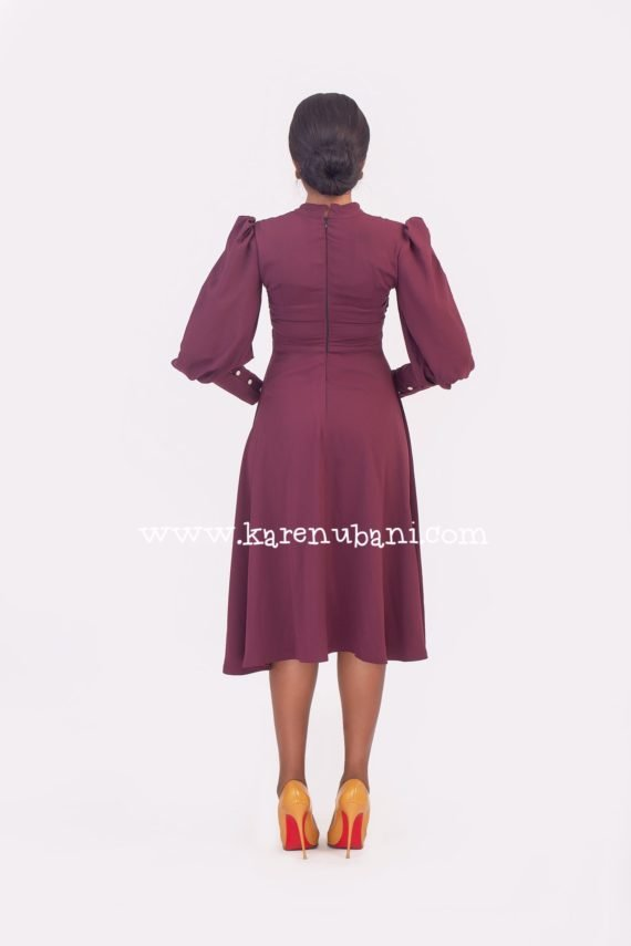 Meghan Flare Dress in Burgundy 4