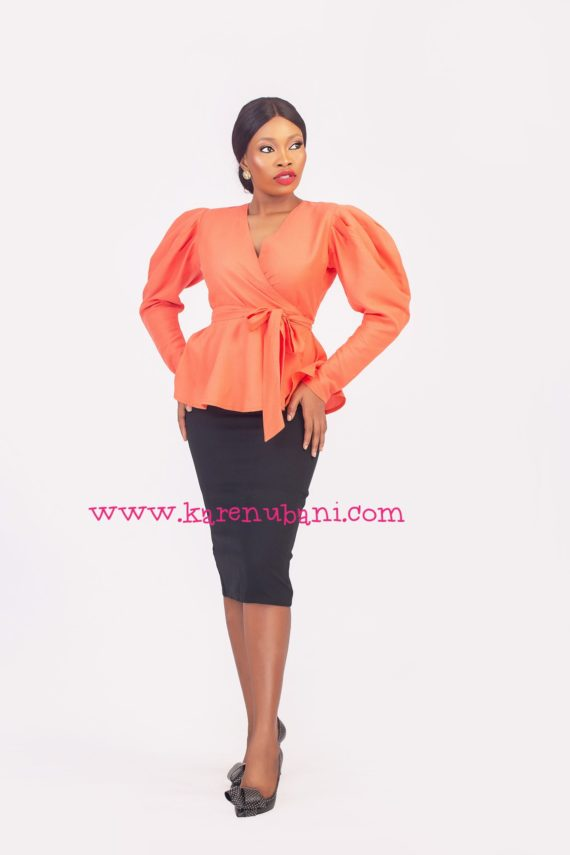 The Alice Blouse in Linen Fabric- Orange 1