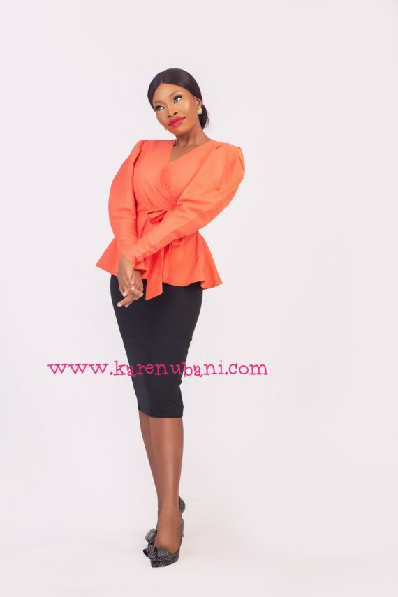The Alice Blouse in Linen Fabric- Orange 2