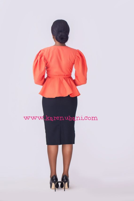 The Alice Blouse in Linen Fabric- Orange 3