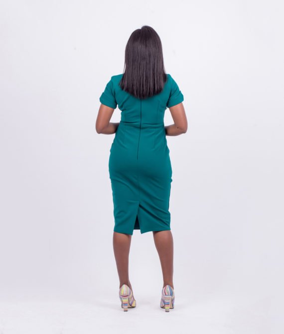 Dark Leaf Green Assymetric Dress 3
