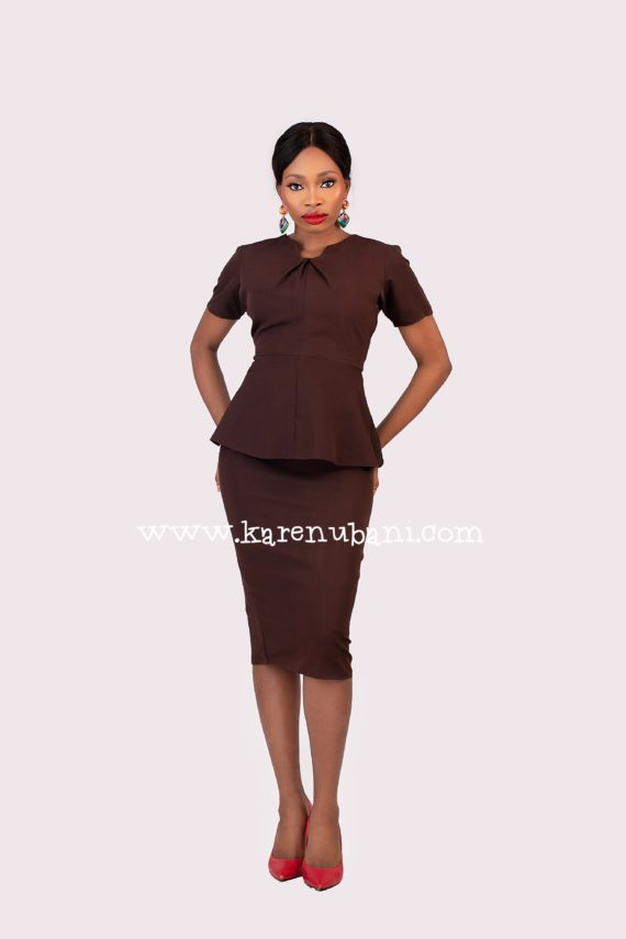 The Helen 2pc Skirt Suit in Chocolate 1