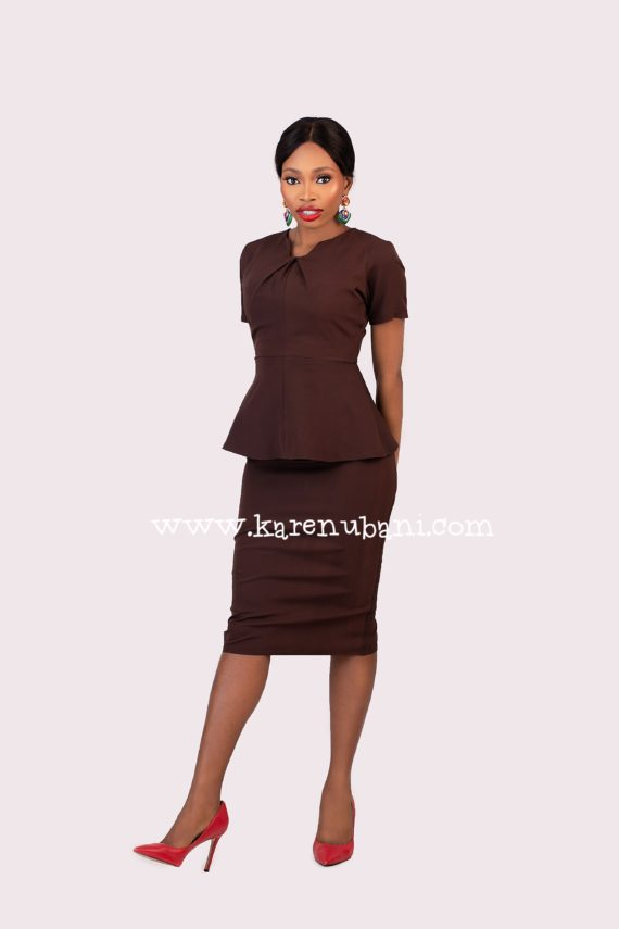 The Helen 2pc Skirt Suit in Chocolate 3