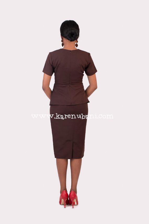 The Helen 2pc Skirt Suit in Chocolate 4