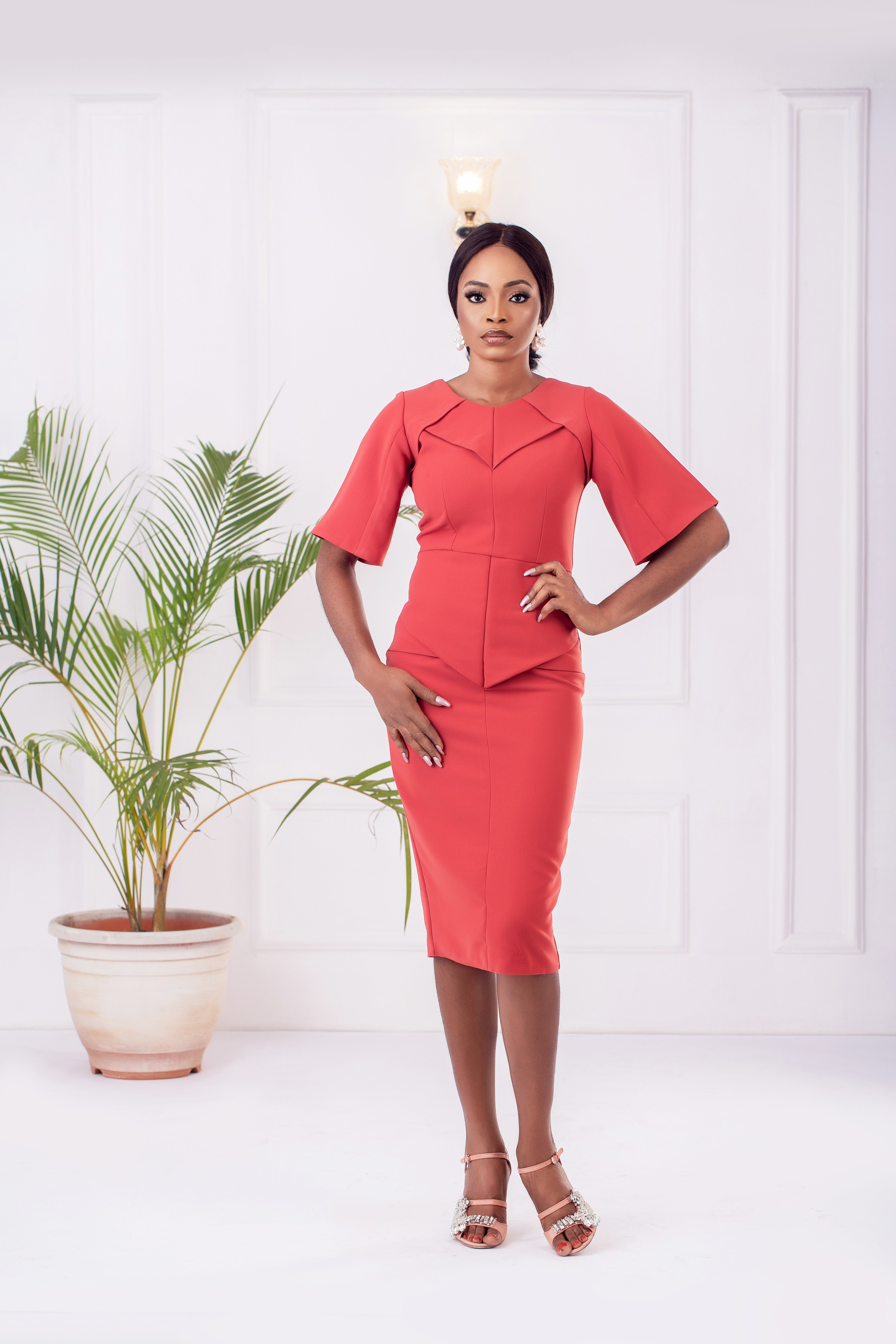 The Phoenix Architectural Dress in Punch Pink 2