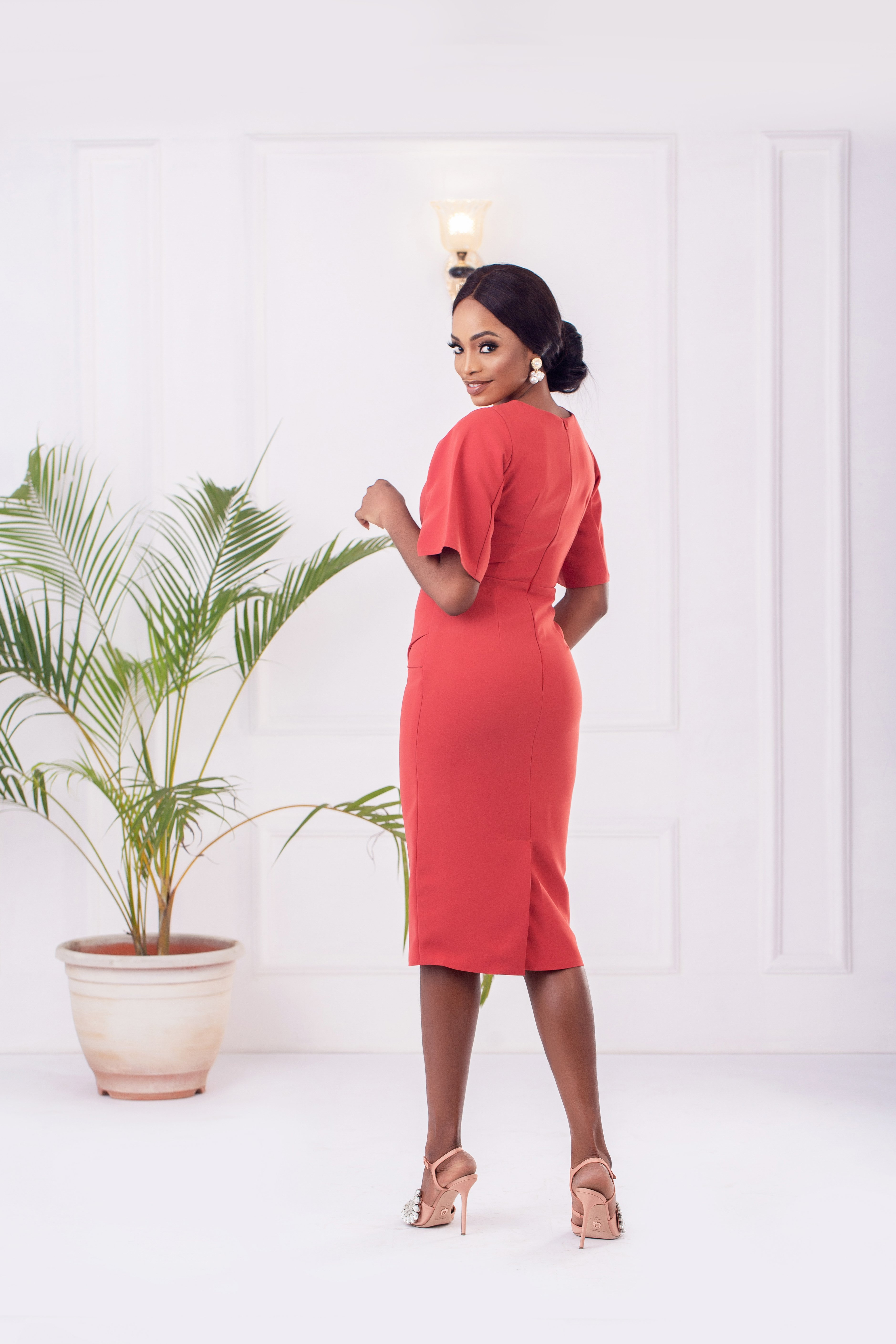 The Phoenix Architectural Dress in Punch Pink 3