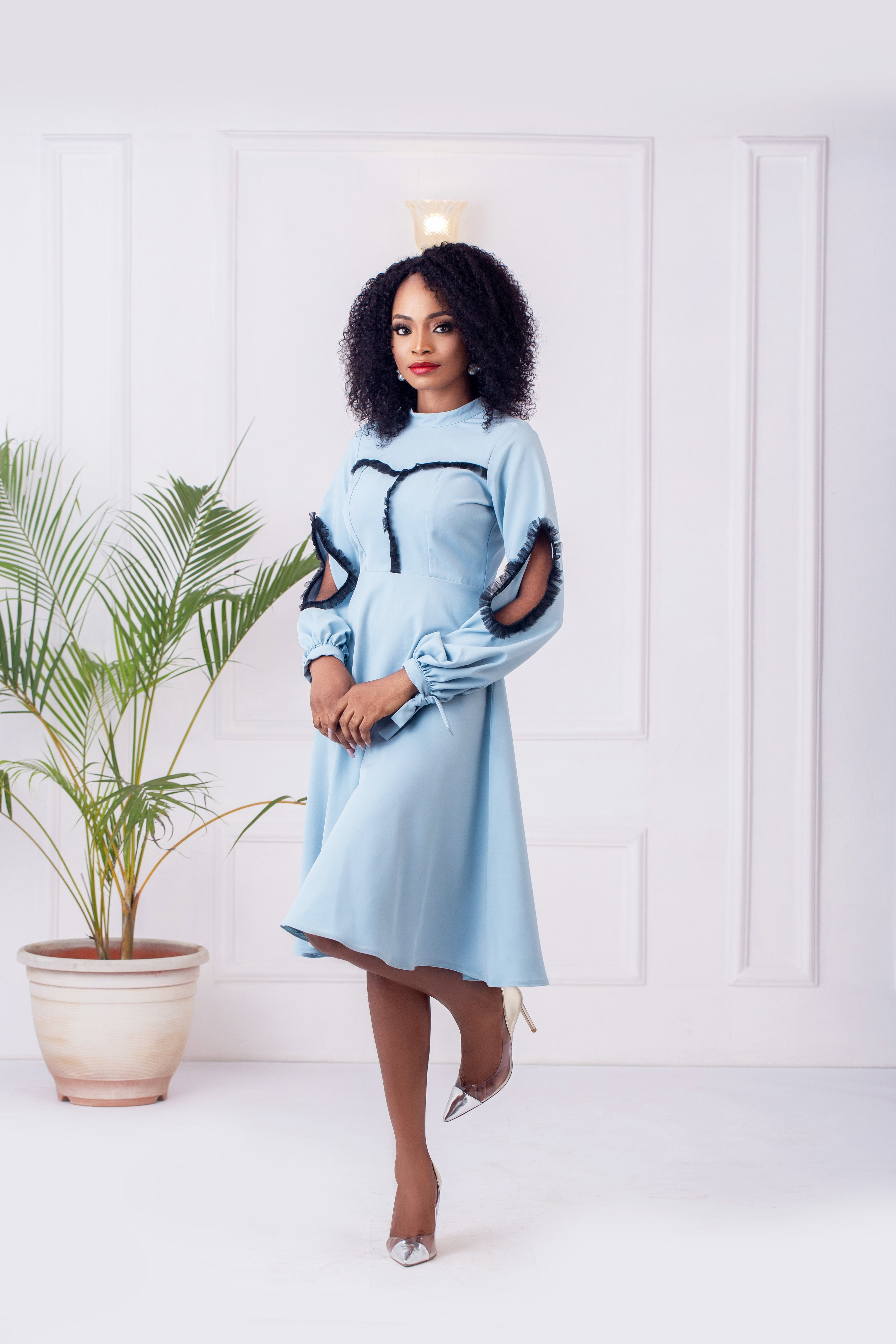 The Cyprus Flare Dress in Sky blue 1