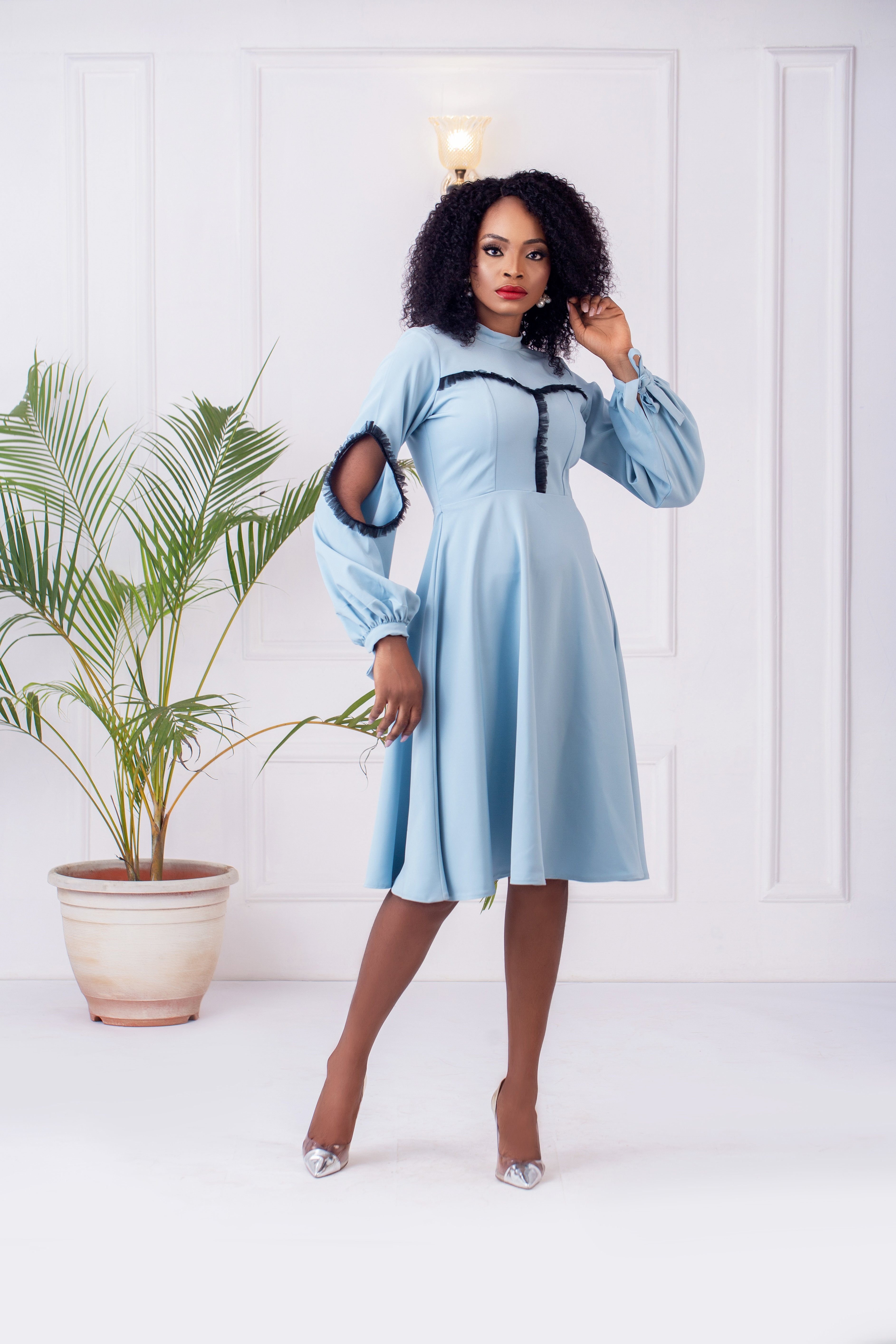 The Cyprus Flare Dress in Sky blue 2