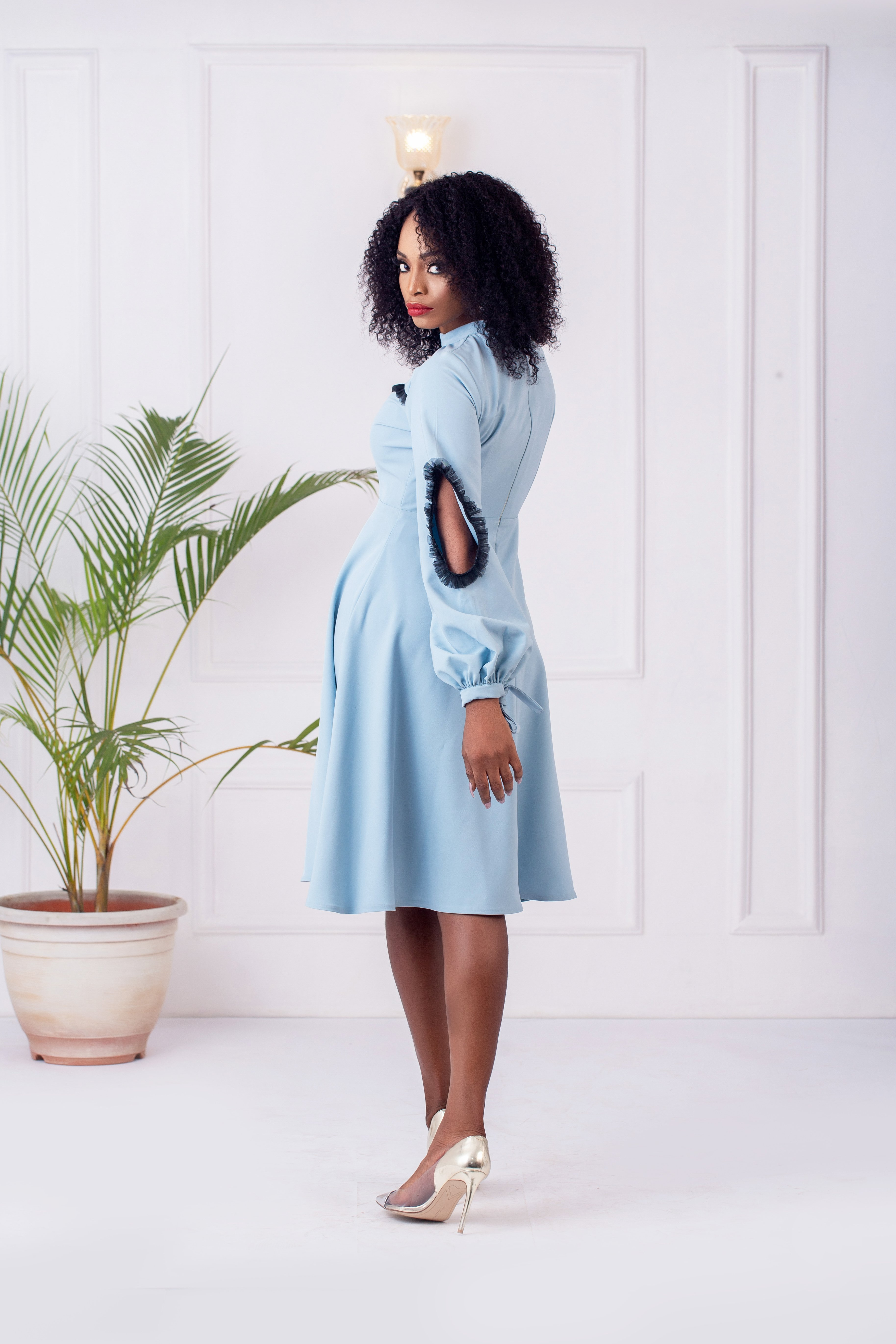 The Cyprus Flare Dress in Sky blue 3
